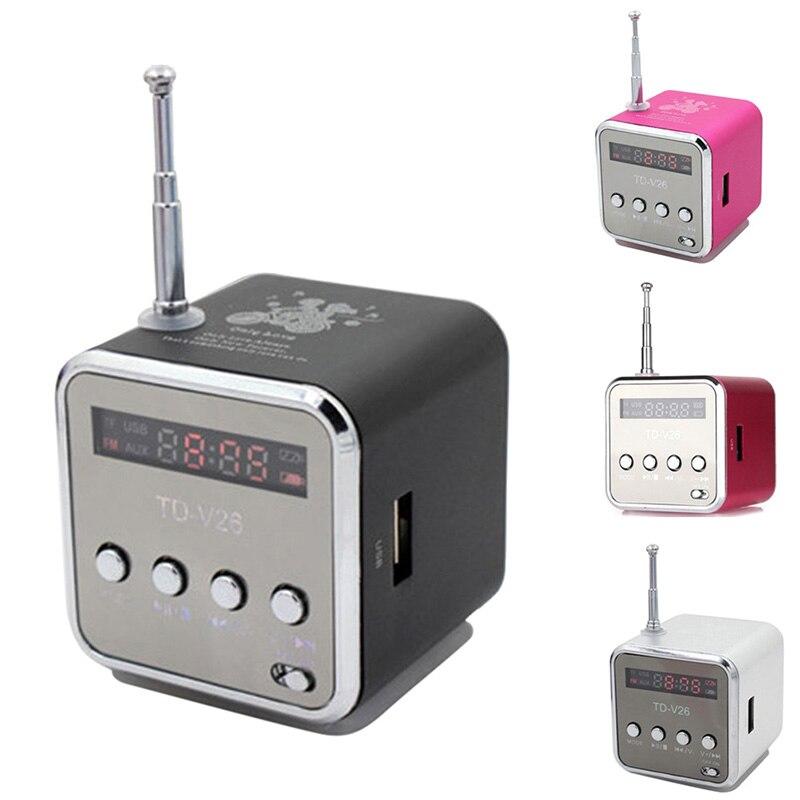 Neue Tragbare Mini Lautsprecher Aluminium-legierung Stereo Lautsprecher Musik-player Mit Radio Unterstützung Sd-karte @ JH