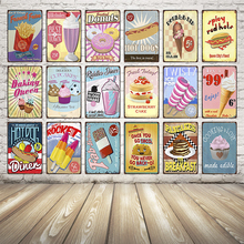 [ Kelly66 ] Cake Metal Painting Vintage Wall poster decor for store hotel market Bar Retro craft 20*30 CM Size Dy4