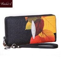 Vintage Print Floral Frauen Brieftaschen Multifunktions Hohe Kapazität Echtem Leder Brieftasche Telefon Clutch Geldbörse Zip Lange Armband