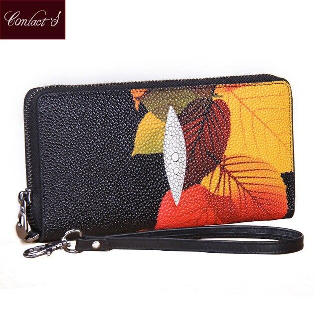 Vintage Print Floral Women Wallets Multifunction High Capacity Genuine Leather Wallet Phone Clutch Purse Zip Long Wristlet