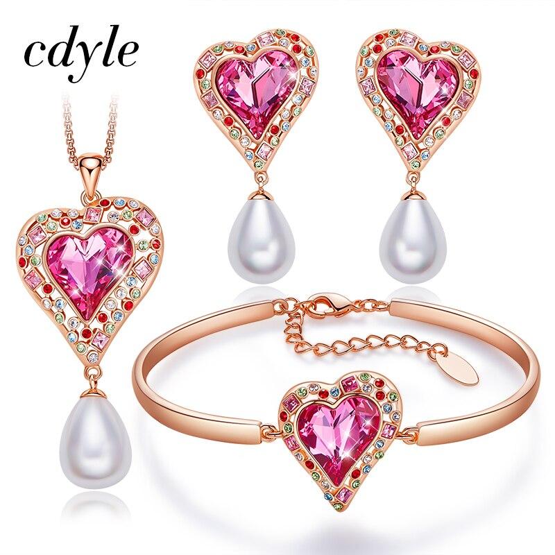 Cdyle coeur de l'arc-en-ciel collier boucles d'oreilles Bracelet serti de cristaux de Swarovski or Rose ensemble de bijoux pour les femmes