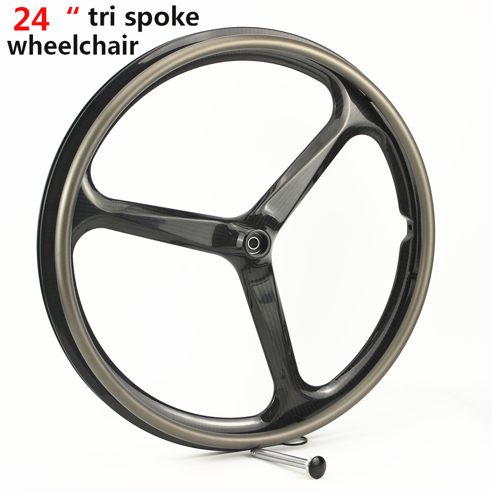 US $605 0 |24 inch carbon fiber wheelchair tri spoke wheel wheelchair rims  disabled wheels sports rims 40mm 3 spoke clincher bicycle wheels-in Bicycle