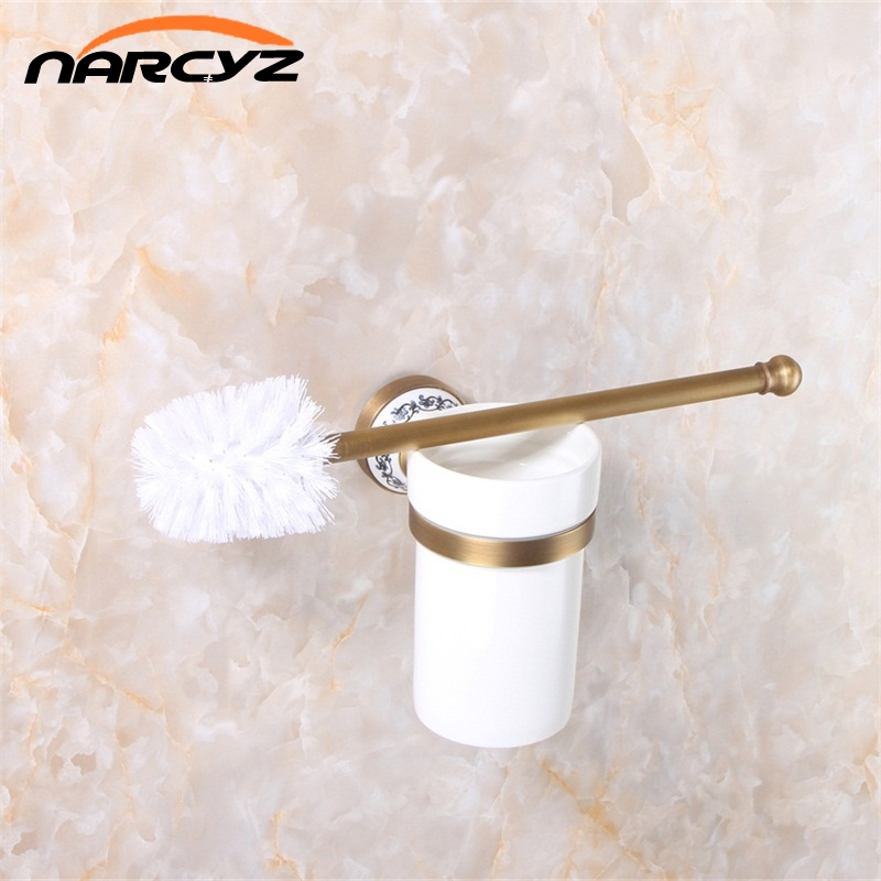 Toilet Brush Holders Luxury Antique Finish Toilet Brush Holder With Ceramic Cup Household Products Bathroom Decoration