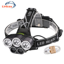USB Scheinwerfer led 18650 scheinwerfer Wasserdichte Wiederaufladbare XML U2 T6 LED Camping Lichter AC Ladegerät Usb Kabel Kopf Licht Lampe