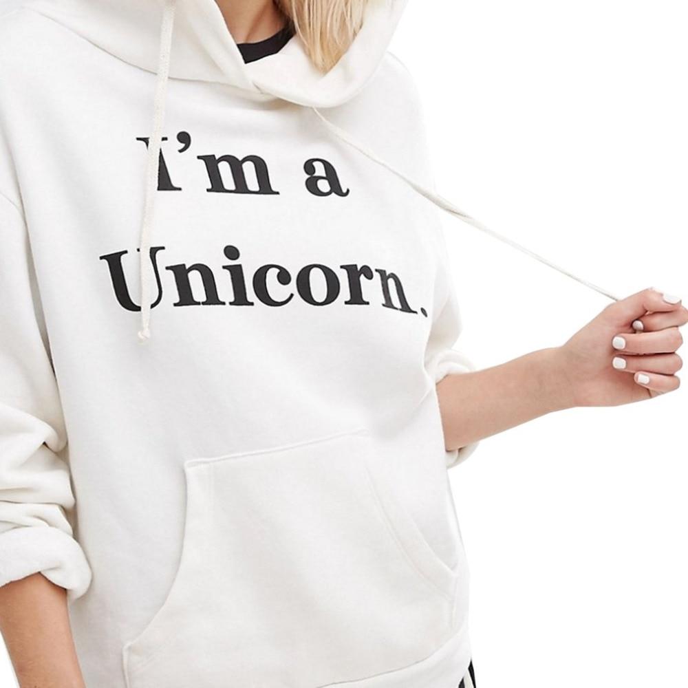 Fashion Women Hoodies 2017 New America European Funny Unicorn Pattern Girl Sweatshirt Casual Long Sleeve Hooded Winter Puliover
