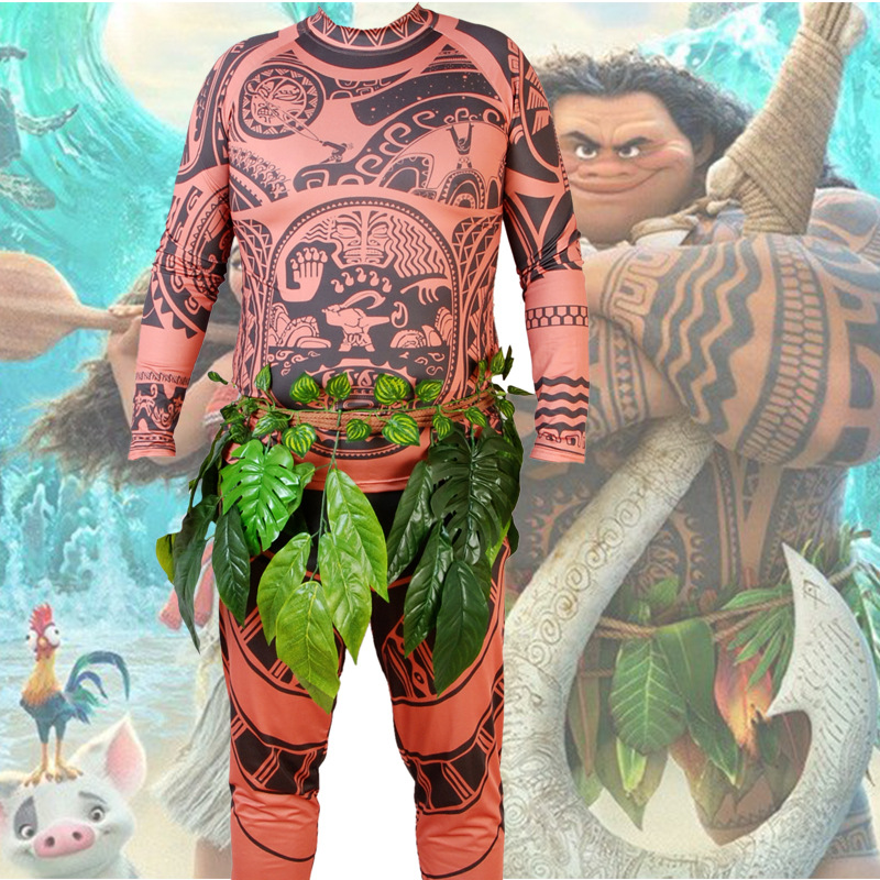 2018 Full Set Movie Moana Costumes Princess Maui Cosplay Princess vaiana Maui Costume for Children 3 Pcs Clothes + Pants + Belt 10pcs set cartoon moana princess legend vaiana maui chief tui tala heihei pua action figure decor toys for kids birthday gift