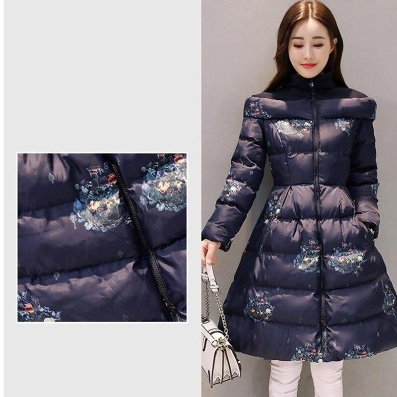 Taille light Vêtements Gray Veste Top Beige Coton 696 Manteau De Impression Mode Yagenz Femmes Grande Parkas navy Section Longue D'hiver Qualité Rnp4H46