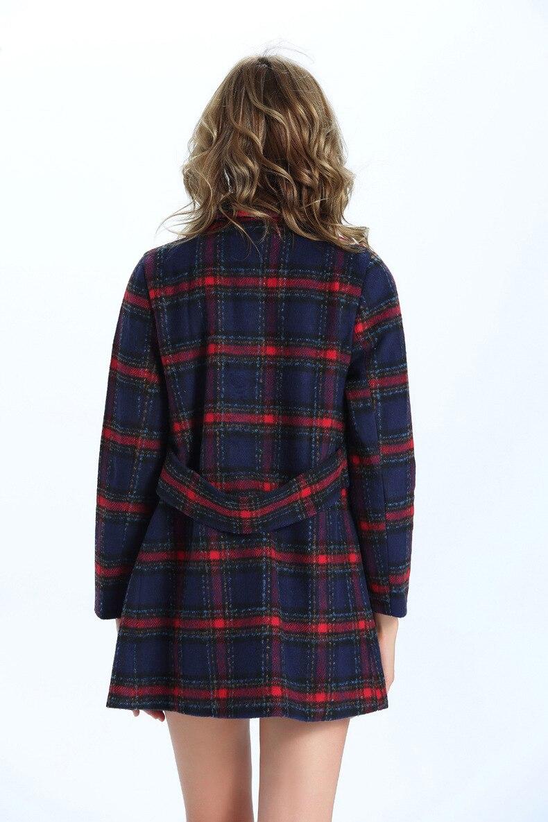 Großhandel Weiblicher Mantel Frauen Zweireihiger Roter Plaid Damen Mischen Mäntel England Winter Wolllange Jacken Wolljacke Casacos 2018 Neue Art Von
