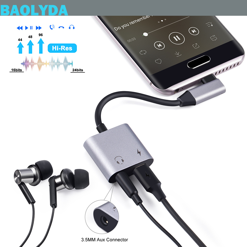 Baolyda USB Type C Adapter To 3.5mm Audio Headphone Jack Dongle Aux Cable With USB-C PD Charging For Google Pixel 3 XL IPad Pro