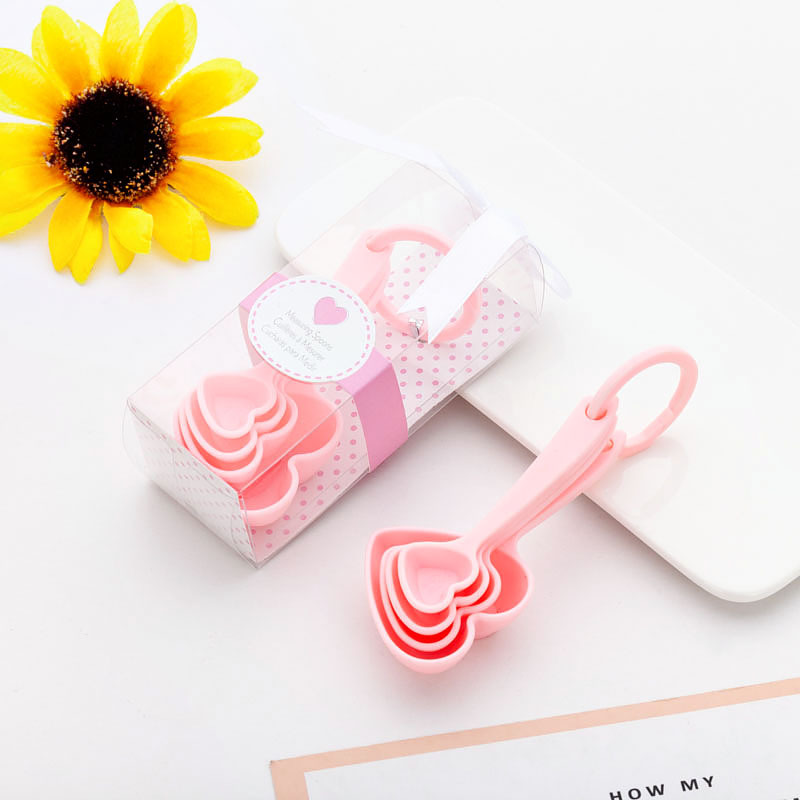 (4Pcs/Lot=1Boxes) Adorable Heart Baby souvenirs of Love Measuring Spoon Favors for Baby Shower favors and birthday Party gift