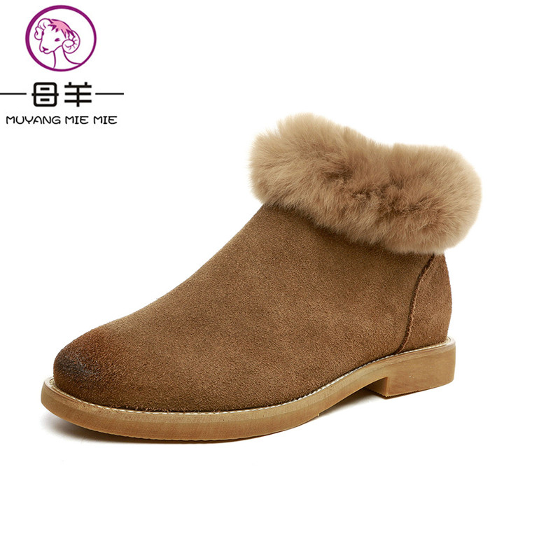 MUYANG MIE MIE Winter Women Shoes Woman Nubuck Suede Leather Flat Snow Boots Female Rabbit Velvet Warm Ankle Boots Women Boots lodge d the man who wouldn t get up and other stories