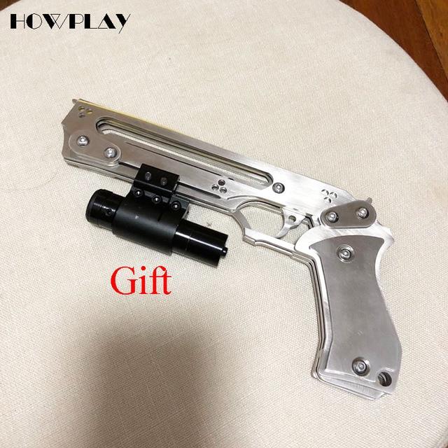 howplay metal gun toy rubber band gun folded pistol boy shooting
