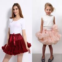 Family Matching Outfits Children Girls Mom Tutu Skirts Fluffy Princess Chiffon Pettiskirt Ballet Dance Skirt Solid
