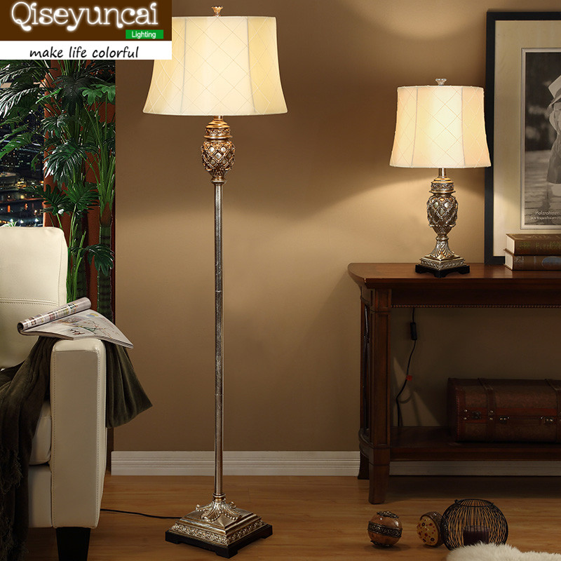 Qiseyuncai 2018 new European style living room resin floor lamp bedroom bedside study alloy floor lamp