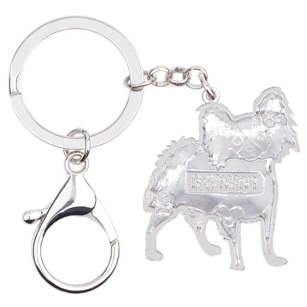Bonsny эмаль сплава Папильон собака брелоки держательбрелоковдля ключей милые ювелирные изделия животных для женщин девочек домашних животных любительский рюкзак автомобиль талисманы подарок