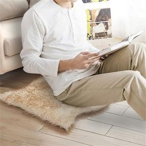 Image 5 - Sofá decorativo de imitación de lana para el hogar, cojín de salón europeo, alfombras de cuero de oveja, dormitorio, cabecera, ventana, cojín de pelo largo