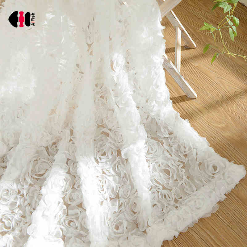 Simple Modern Three-Dimensional Rose Embroidered Curtains Net Yarn Small Fresh Solid White Pink Wedding Bedroom Gauze WP148D(China)