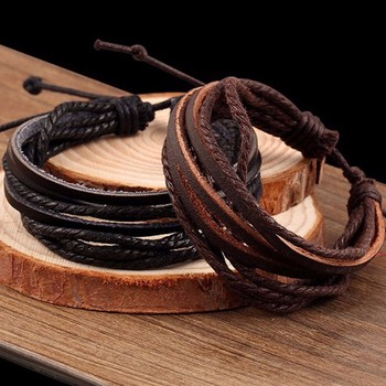 KYSZDL Hot sell 100% hand-woven Wrap multilayer Leather Braided Rope Wristband bracelets & bangles