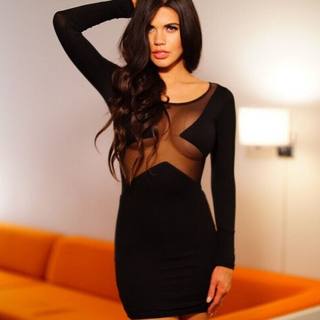 2017 frühling Langarm Party Schwarze Kleid Club Hot Sexy Vintage ...