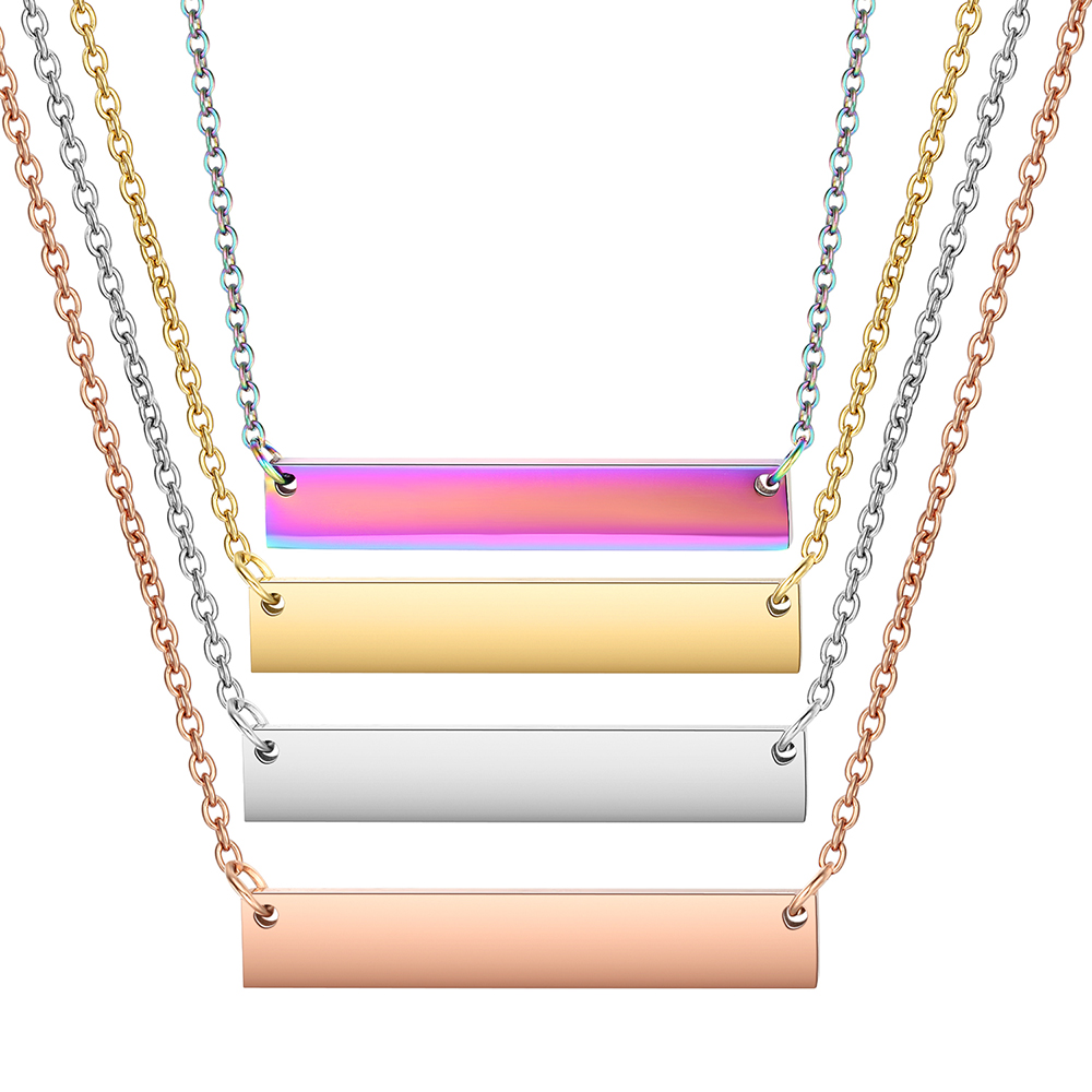 30pcs lot Fashion Flat Bars Necklace Mirror Polish Stainless Steel High Quality Choker Women Bar Pendant
