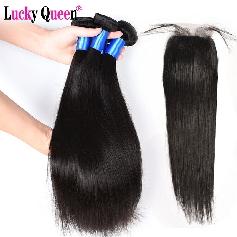 Lucky Queen Hair Products Peruvian Straight Hair Bundles With Closure 4pcs/lot Non Remy Human Hair Bundles With Closure No Sheds