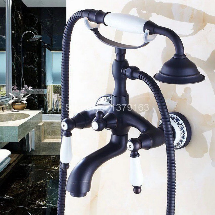 Oil Rubbed Brass Ceramics Base Wall Mounted Clawfoot Bath Tub Faucet Mixer Tap Telephone Style Hand Held Shower Head Set atf532 black oil rubbed brass wall mount bathroom clawfoot bath tub faucet mixer tap ceramic handle hand shower head ltf552