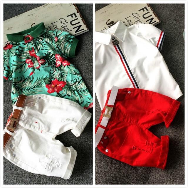 NEW kids clothing set 2pcs baby cotton T-shirt short pants children clothing set summer boy cartoon clothes set 2 colors 2-7T