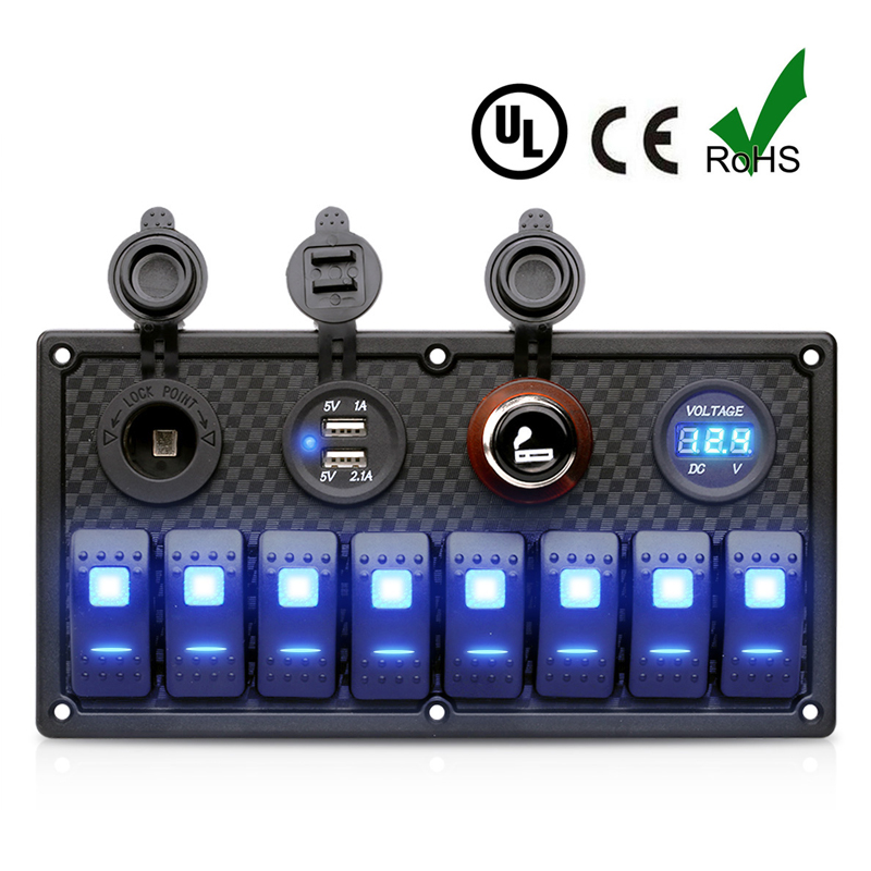12V/24V USB cigarette lighter Voltage Rocker 8 Switch Panel Blue LED Light Marine Boat Car RV Waterproof Circuit Breaker