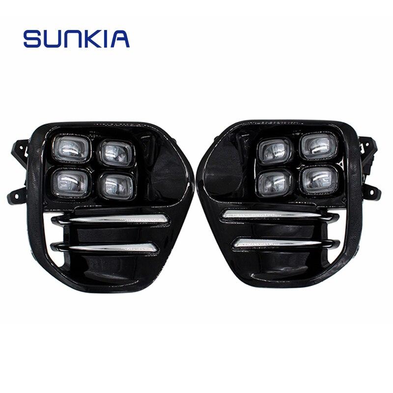 2 pcs/ensemble SUNKIA pour KIA Sportage KX5 2016 2017 2018 Éclairage Diurne DRL Brouillard Lampe Voiture Style Jour Lumière livraison Gratuite