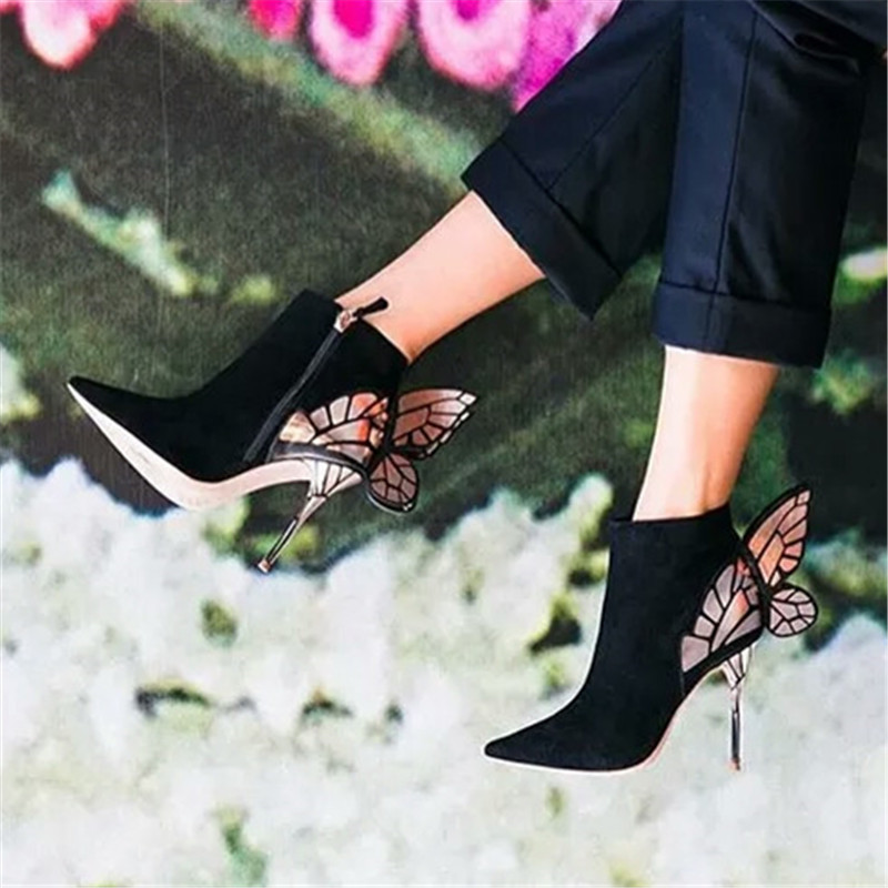 À En Bottines Leather Chaussures Ystergal 01 Femmes Pointu Pour Conception Papillon Suede Hauts Aile Dames Noir Daim Valentine black black Bottes Talons Mujer Bout 02 Black Botas ztFqtOw