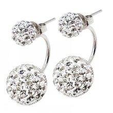 Double Sided Crystal Ball Brass 925 Sterling Silver Stud Earrings for Women Cubic Zirconia girls earrings Fashion Femme Bijoux