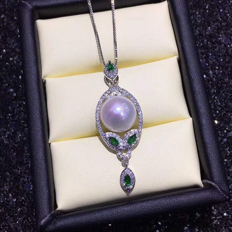 925 sterling silver necklace for women Natural freshwater pearl necklaces pendants green Zircon chain Bohemian jewelry Wedding