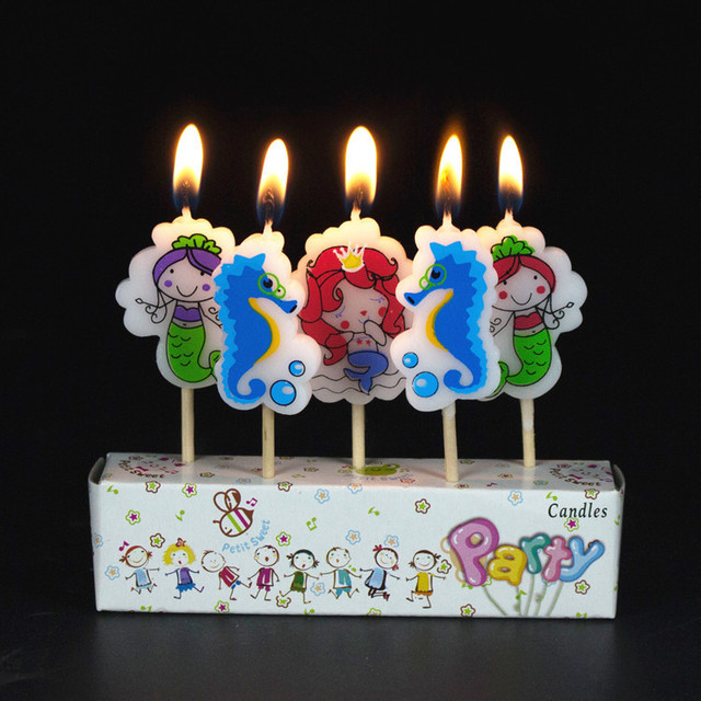 5pcsset Little Mermaid Birthday Craft Candles Cupcake Candle