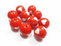 (Elija el tamaño primero) 12mm/16mm/20mm rojo con el corazón blanco sólido Cuentas