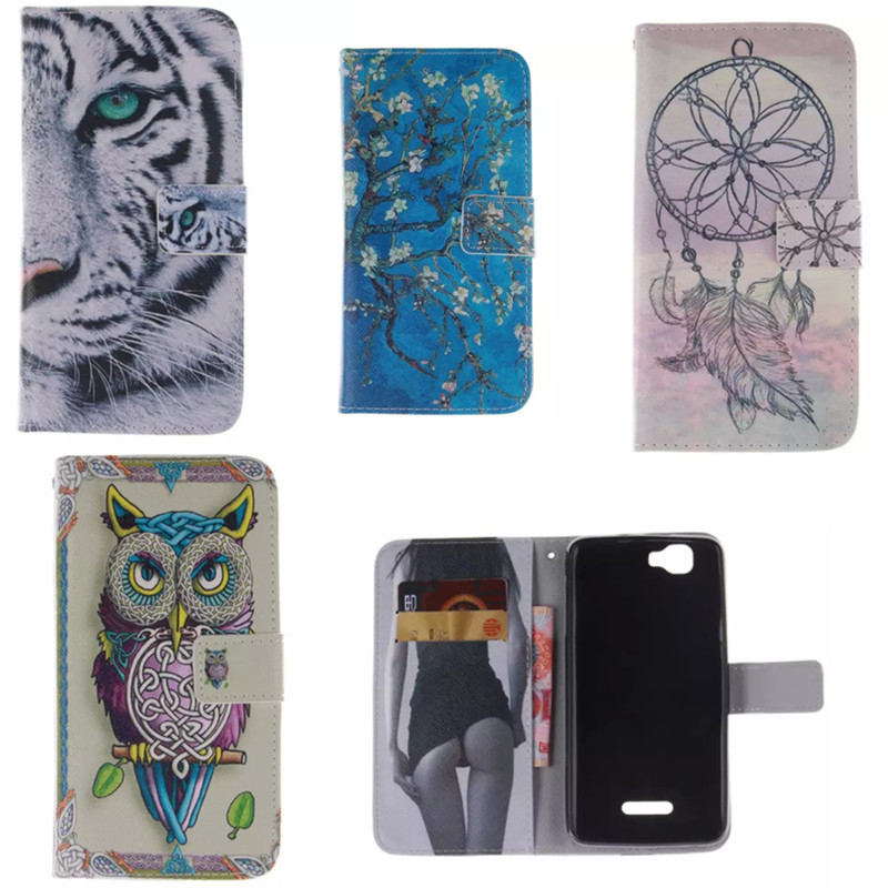 Fashion Covers owl and cat woman Sexy Girl PU leather case Protector Skin For Wiko Rainbow LH