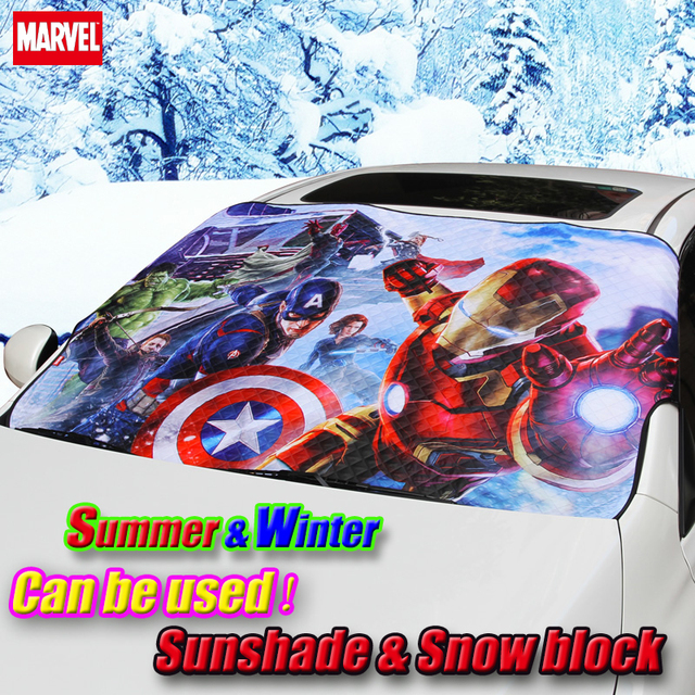 Car cartoon Marvel Avengers Front window sunshade & winter frost snow shade Foils Windshield Visor Cover UV Protect Car Film
