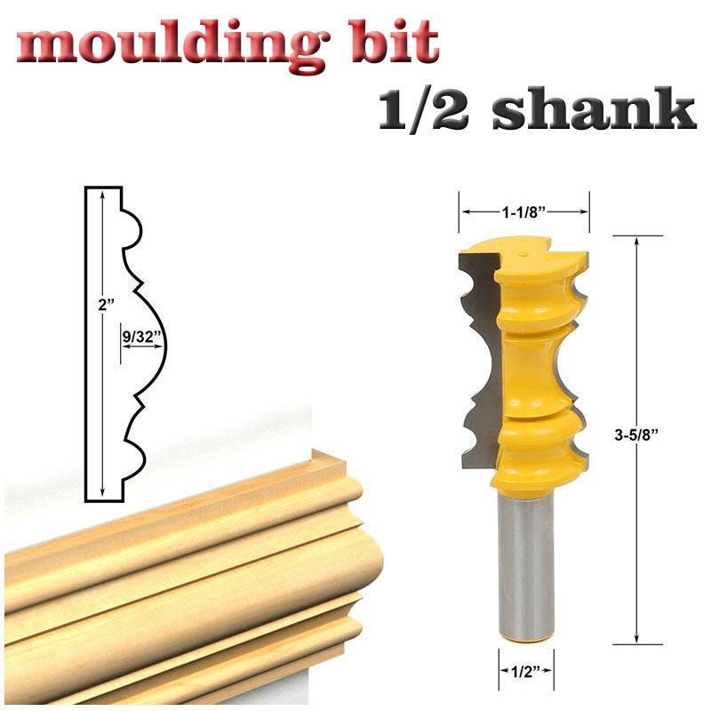 Conscientious 1pc Large Elaborate Chair Rail Molding Router Bit Tools 1/2 Shank Line Knife Tenon Cutter For Woodworking Tools Soft And Antislippery