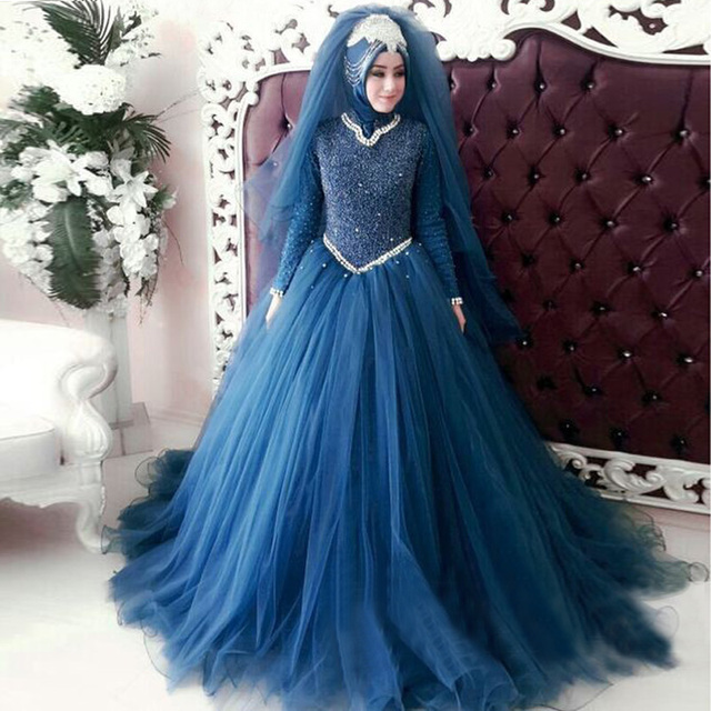 a18cd9a9d91b Oumeiya OWY208 Hijab Long Sleeves Muslim Wedding Dress Beads Pearls Bridal  Gowns Western Formal Dress Robe