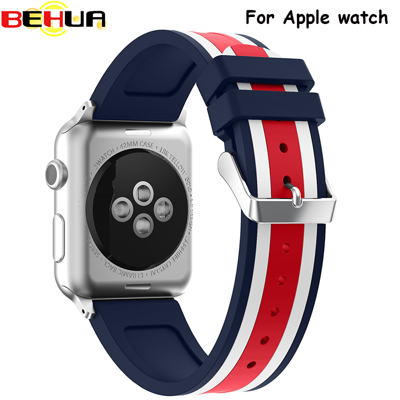 Colorful Silicone Wrist Strap For Apple Watch Band 38mm 42mm Rubber Sport Bracelet Wrist Band With Adapter For Iwatch Watchband