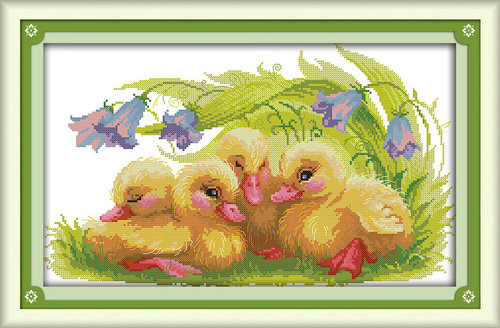 The baby ducks painting pattern Counted or Stamped Cross-Stitch Needlework DIY DMC Cross stitch,Set For Embroidery kit