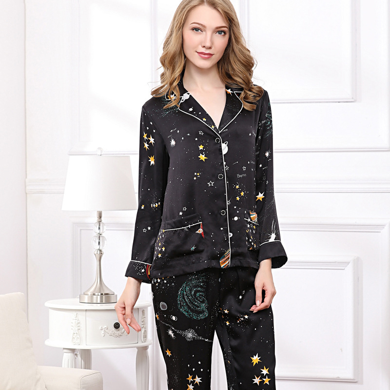 CEARPION High Quality 100% Silk Women Pajamas Suit Long Sleeve Shirt+pant Sleepwear Elegant Casual Daily Night Wear Home Clothes