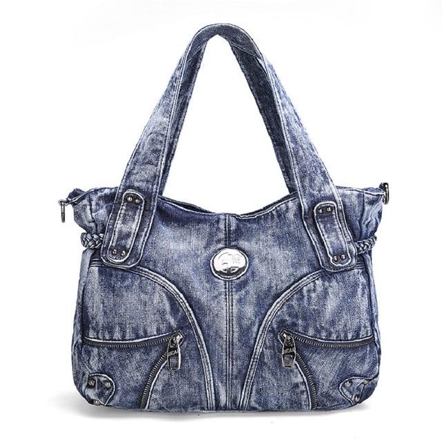 Fashion Weave Rivets Design Denim Vintage Women Tote Bags Lady Handbags  Jeans Denim Shoulder Bag Messenger bags 59681 d51fd6f5e061a