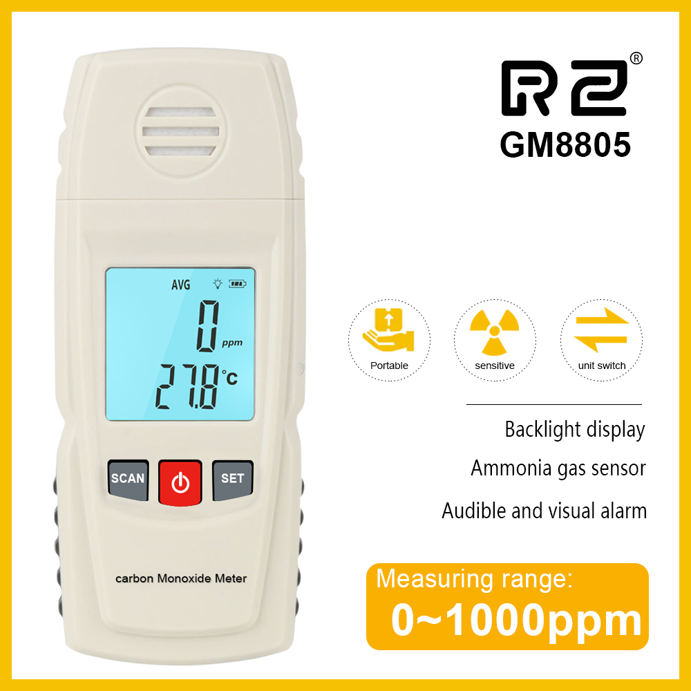 RZ Carbon Monoxide Meter CO Gas Leak Detector Analyzer High Precision Gas Monitor 1000ppm GM8805 Handheld LCD Tester