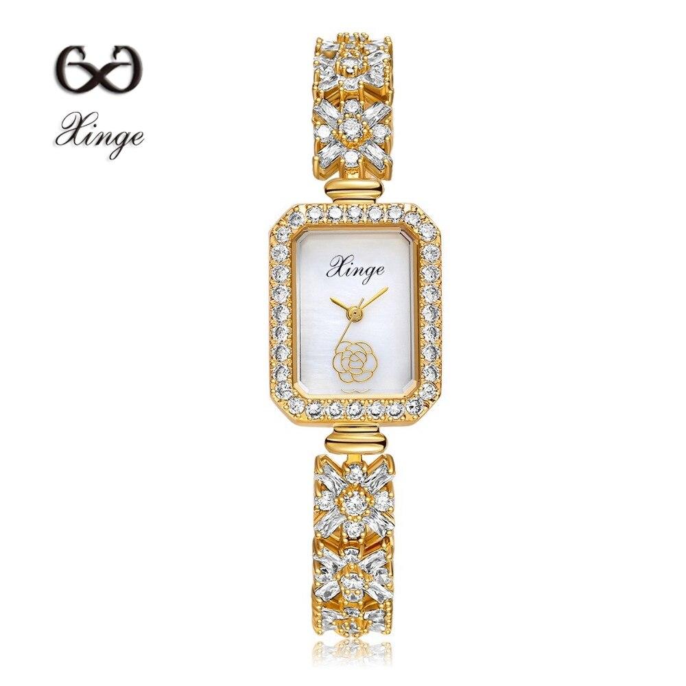 Xinge Brand Zircon Copper Gold New Women Luxury Fashion Wristwatch Gold Rhinestone Quartz Ladies Watch Casual Dress Watches xinge brand 2017 new arrival fashion
