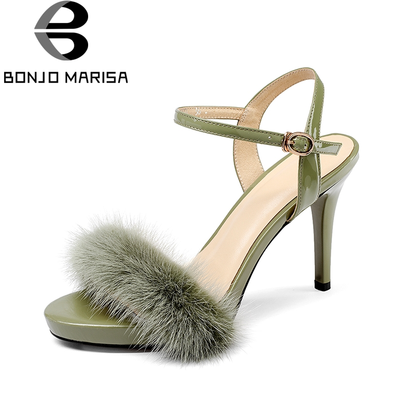 BONJOMARISA 2018 Summer Sexy Genuine Leather Armpit Hair Sandals Shoes Women Thin High Heels Party Wedding Shoes Woman bonjomarisa 2018 summer brand sexy women mules print patent leather pumps crystal high heels party wedding shoes woman