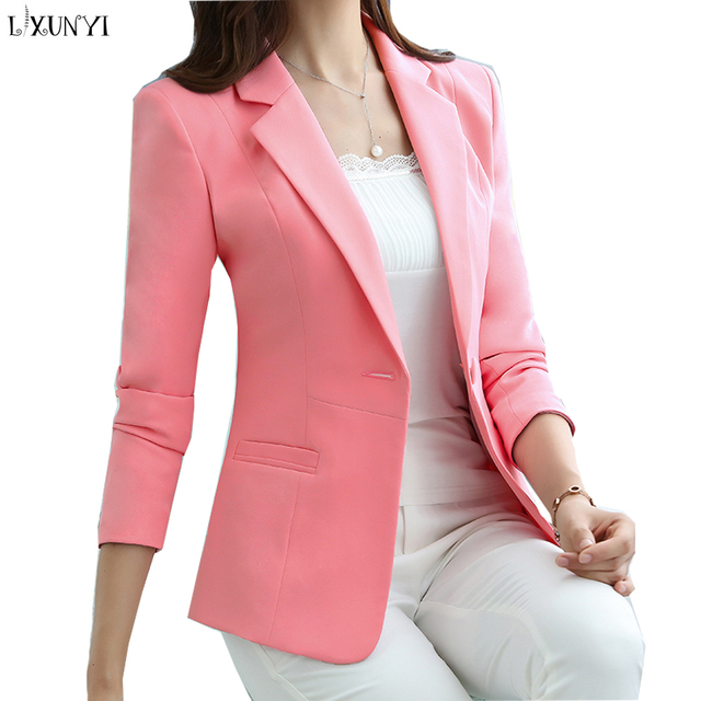 94709627df83b US $42.88 |LXUNYI S 5XL Office Lady Blazer 2019 Spring Autumn New Fashion  Slim jackets And Blazers Women Suit Coat Plus Size Pink White-in Blazers ...