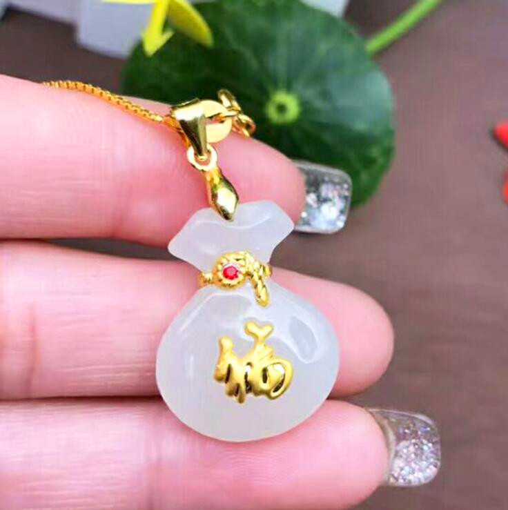 Natural White HeTian Yu + Full Gold Inlaid Carved Fu Money Bag Style Pendant Necklace + Certificate Fashion Jewelry цена