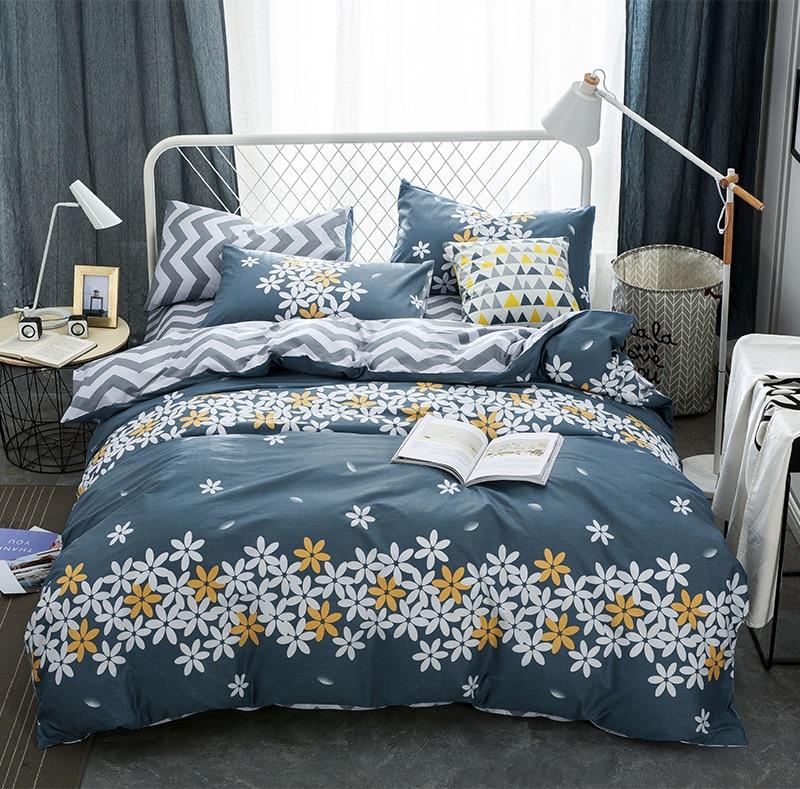 4pcs 100%Cotton Printed fashion Comfortable Bedding set 26 styles soft Duvet Cover set Bedsheet Pillowcases Queen Size bed linen
