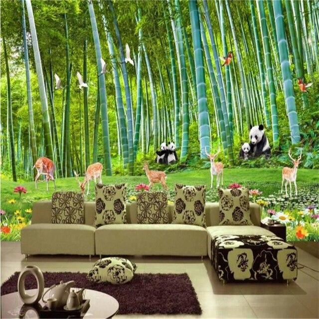 beibehang Custom nonwovens wallpaper living room huge bamboo forest national treasure panda deer background wall