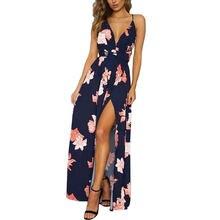 07a2cd18d9 Prędkość sprzedaż przez amazon sprzedaje nowy seksowny dekolt w serek  sukienka z odkrytymi plecami moda drukowanie